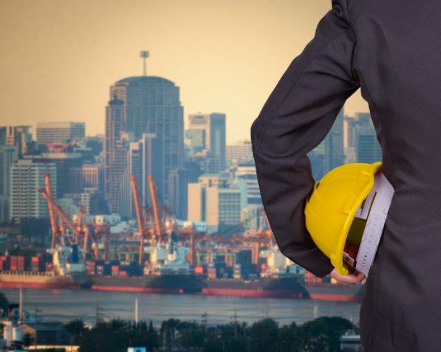 Civil Engineering job looking at harbour
